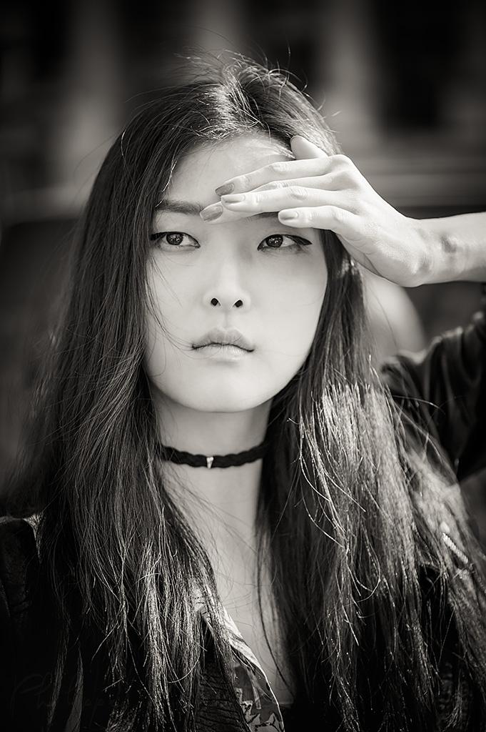 SungHee Kim black and white portrait in Paris, France