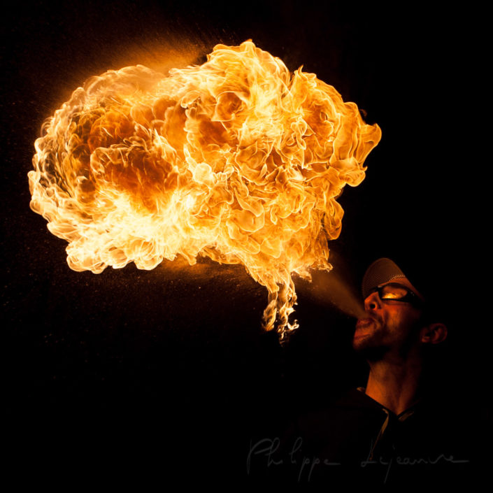 Fire spitter at the Burn Crew Concept anniversary - Palais de Tokyo, Paris - France January 2014