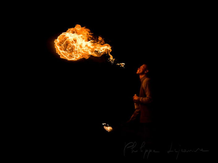 Fire spitter at the Burn Crew Concept anniversary - Palais de Tokyo, Paris - France January 2009