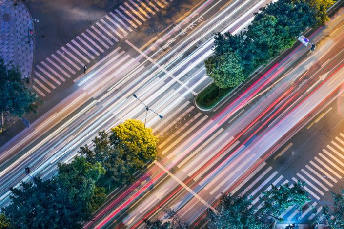 Car traffic at night with walkways aerial view, Chengdu, China