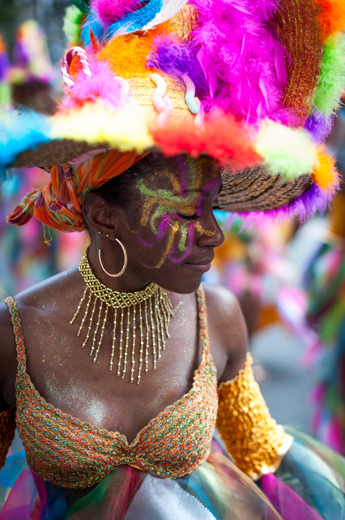 Young woman portrait at the Paris tropical carnival, France