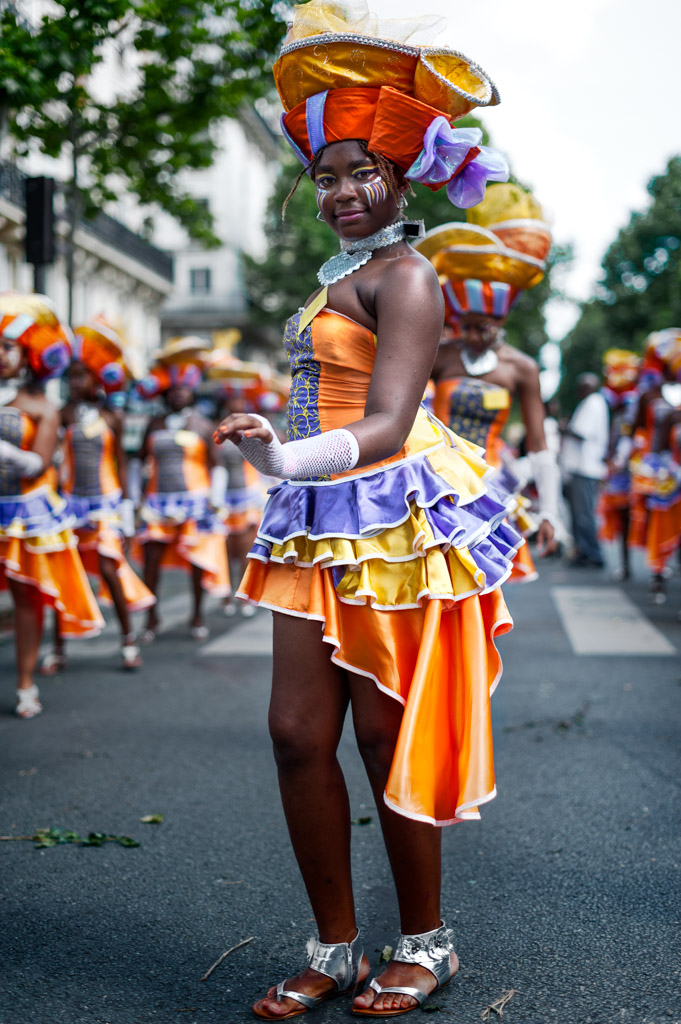 Dancers in the streets of Paris at the annual summer tropical carnival, France