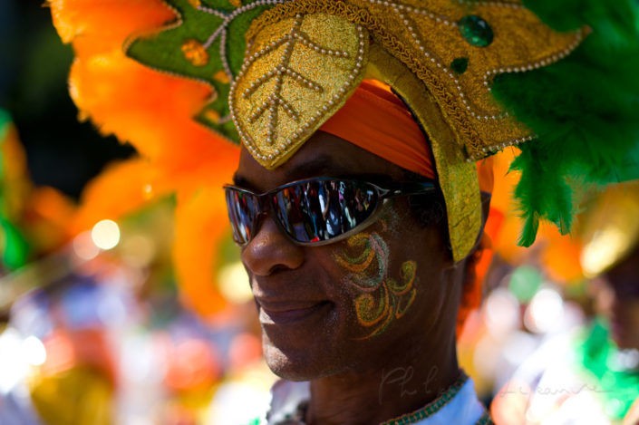 Dancer portrait in the streets of Paris at the annual summer tropical carnival, France