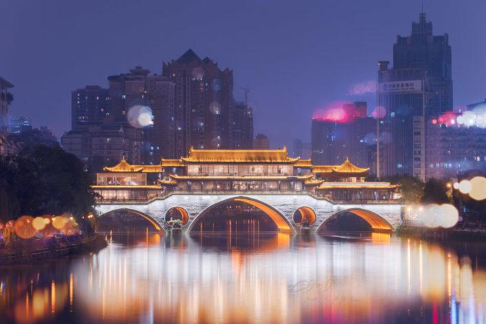 Anshun bridge at night in Chengdu, Sichuan province, China