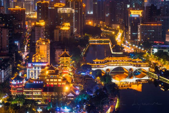 Chengdu Anshun bridge aerial view at night, Sichuan Province, China