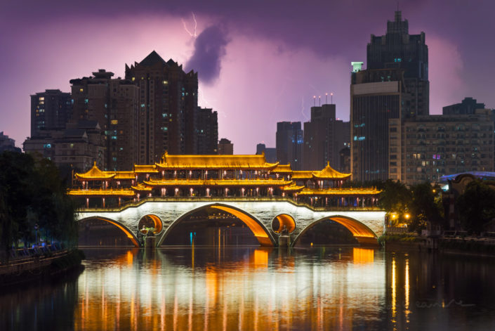 Chengdu Anshun bridge at night with a thunderstorm in the background, Sichuan Province, China