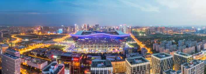 Global Center aerial view panorama at blue hour, Chengdu, Sichuan province, China