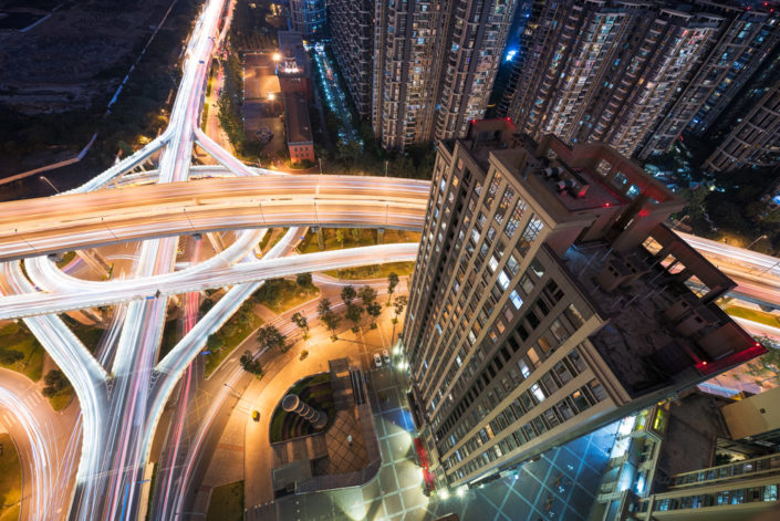 Fuqing Interchange wide angle aerial view at night, Chengdu, Sichuan Province, China