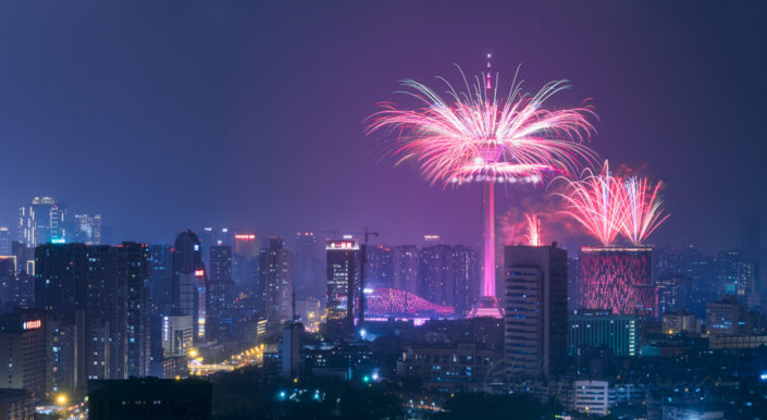 Fireworks and Chengdu skyline at night, Sichuan province, China
