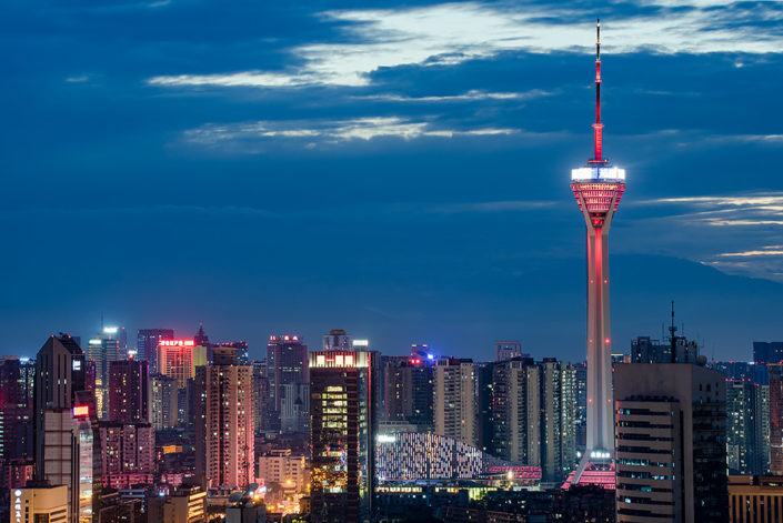 Chengdu skyline aerial view at dusk with TV tower, Sichuan province, China