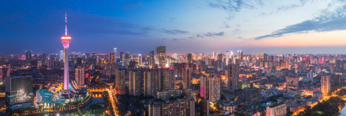 Chengdu skyline panorama at blue hour with the Sichuan tower, Sichuan Province, China