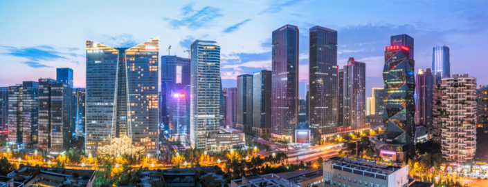 South Chengdu skyline panorama at dusk, Sichuan Province, China
