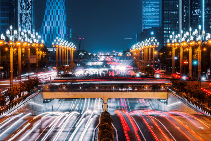 Car traffic at night in the south part of Chengdu, Sichuan province, China