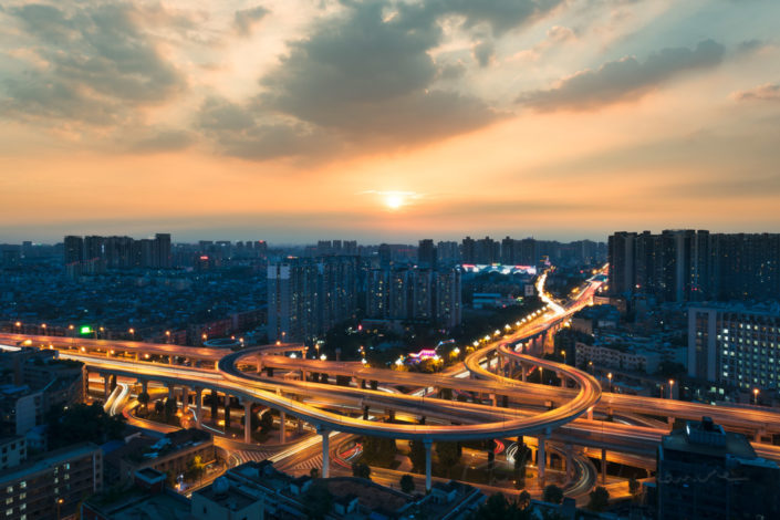 Yingmenkou interchange at sunset in Chengdu, Sichuan Province, China