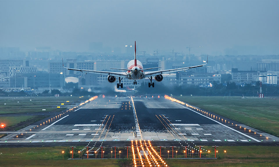 Commercial plane landing at Shuangliu airport Chengdu, Sichuan province, China