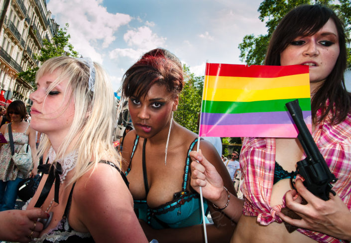 Young women disguised at the Paris pride, France