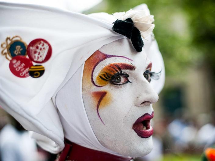 Sisters of Perpetual Indulgence member portrait at the Paris pride