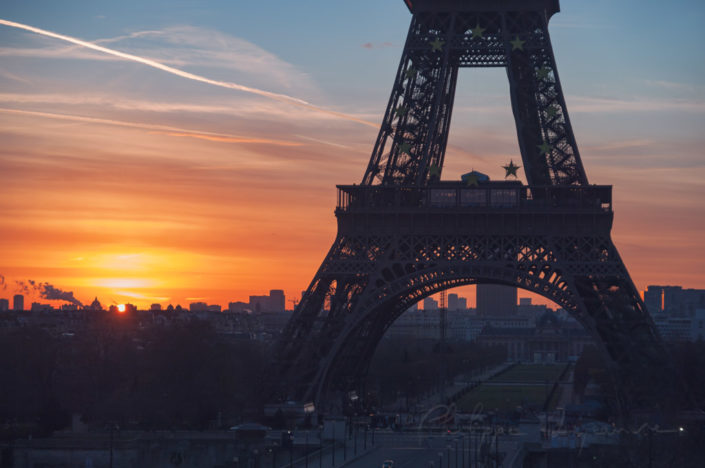Eiffel tower against sunrise from the Trocadero in Paris, France