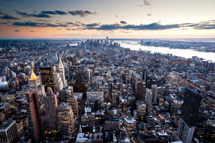 Lower Manhattan skyline at sunset from the Empire state building, New York City, USA