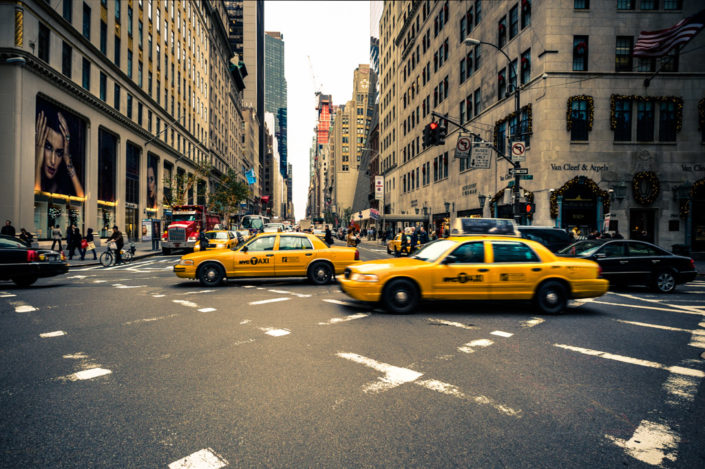 Yellow taxis in New York City, USA