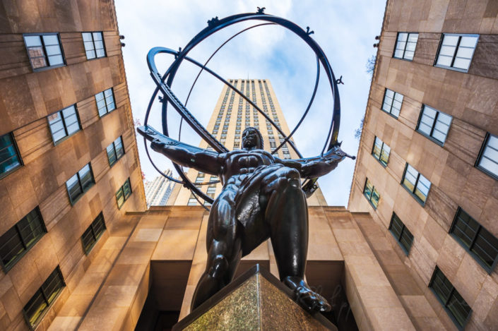 The Atlas statue at the Rockefeller Center, New York City, USA