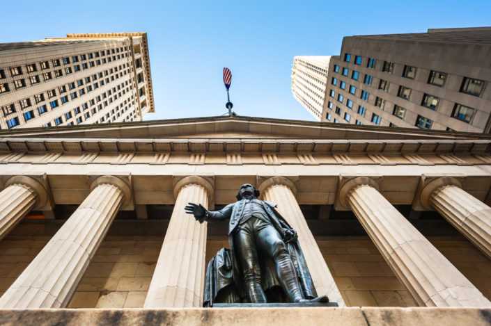 George Washington Statue at Federal Hall in New York city with blue sky