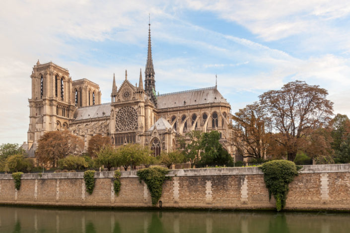 Notre-Dame de Paris cathedral and river Seine in morning light, Paris, France