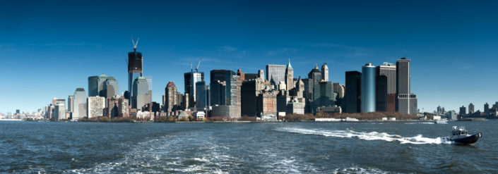 Manhattan panorama view from a boat, New York City, USA