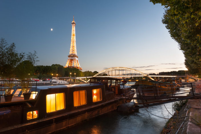 Paris - Eiffel tower and passerelle Debilly at blue hour