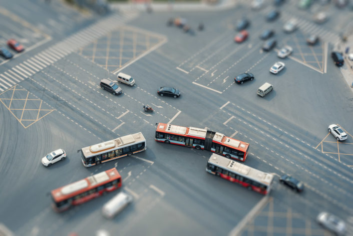 Traffic on a crossroad aerial view with tilt-shift effect in Chengdu, Sichuan province, China