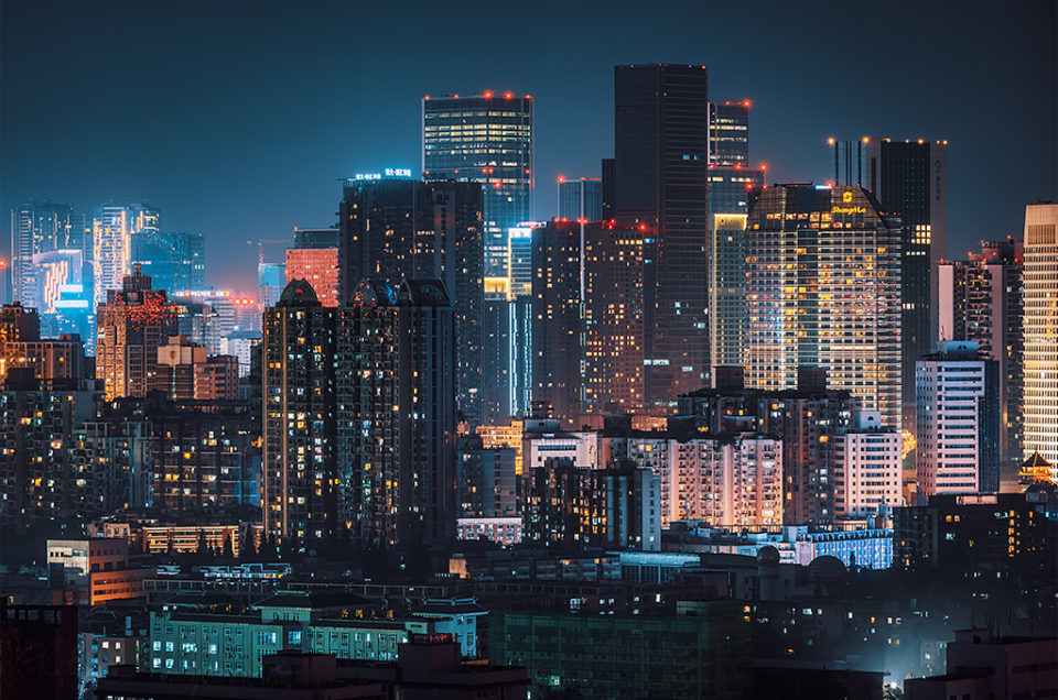 Chengdu downtown skyline aerial view at night, Sichuan province, China