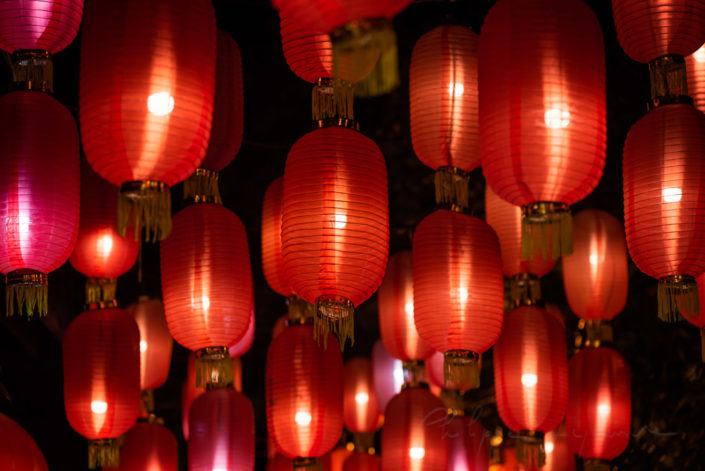 Red chinese lanterns illuminated at night in Jinli old street, Chengdu, Sichuan province, China