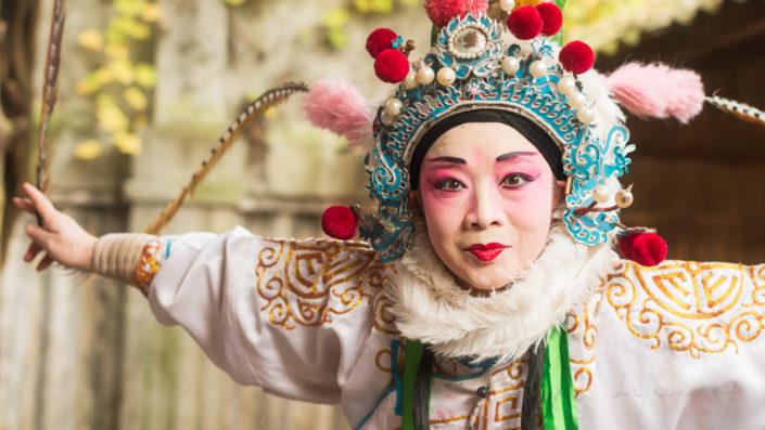 Actress of Sichuan Opera posing in Chengdu, Pixian, Sichuan Province, China