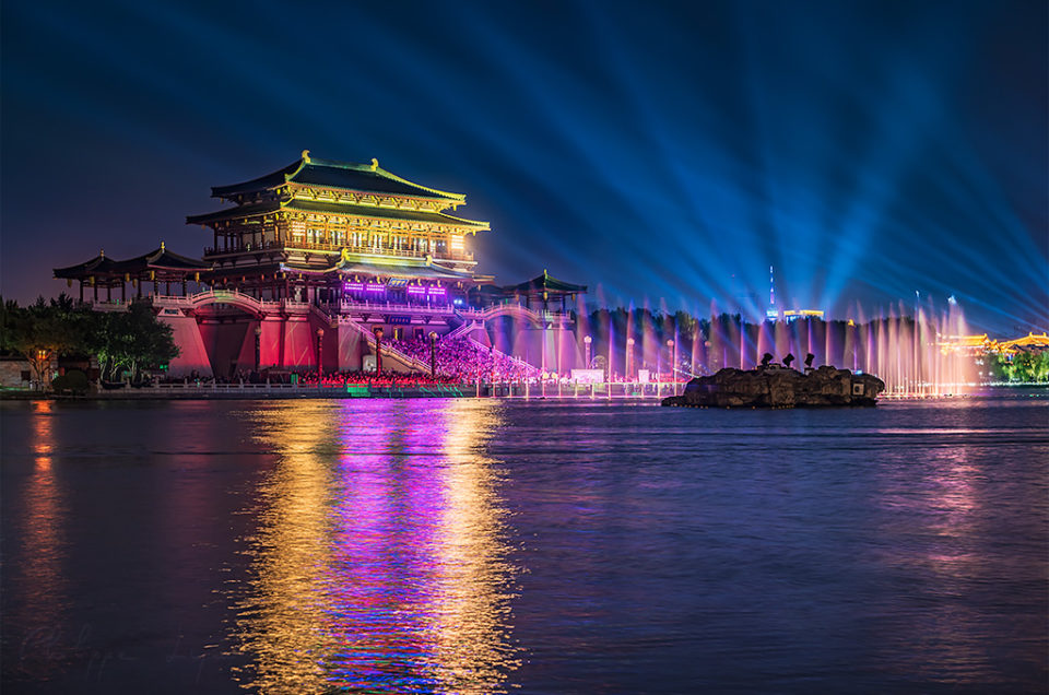 Xi'an Tang Paradise light show at night, Shaanxi province, China
