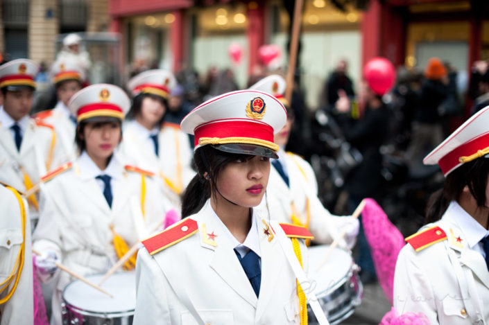 Chinese musician performers at the chinese lunar new year parade in Paris, France