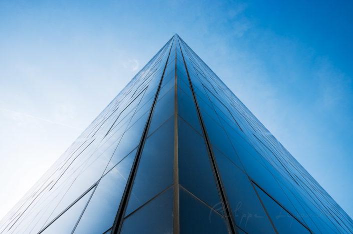 La Defense Paris financial district - Building pyramidal view against blue sky, Courbevoie, France