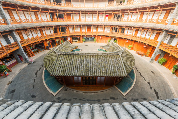 Chengdu-Luodai, Sichuan Province, China : Chinese traditional architecture in a Hakka roundhouse