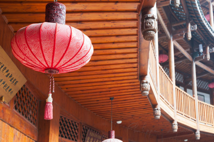 Chengdu-Luodai, Sichuan Province, China : Chinese lantern and chinese traditional architecture in a Hakka roundhouse