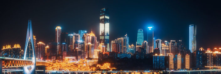Chongqing skyline illuminated at night, China