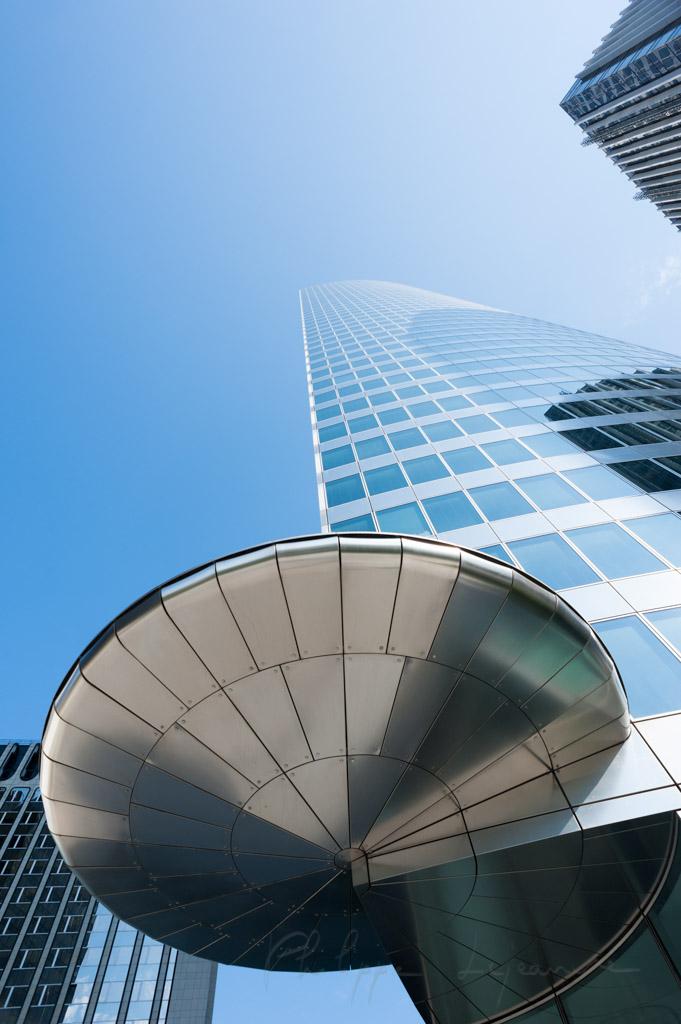 EDF tower against blue sky in La Defense business district, Paris, France