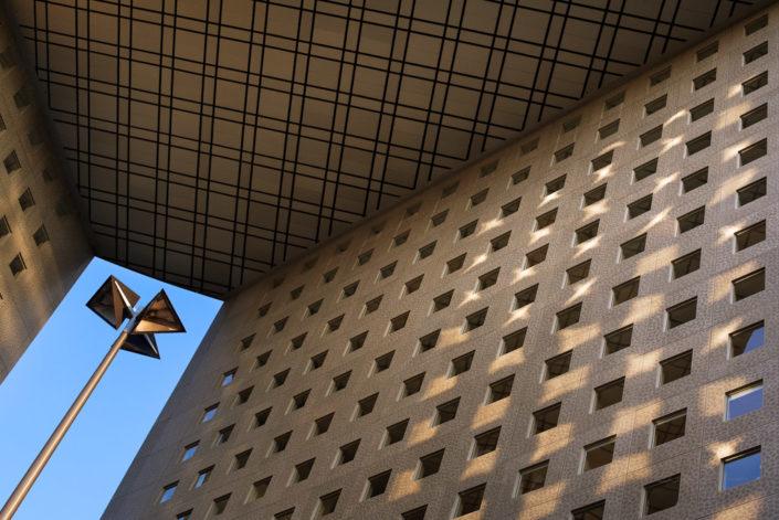 Lamppost and building in La Defense business district, Paris, France