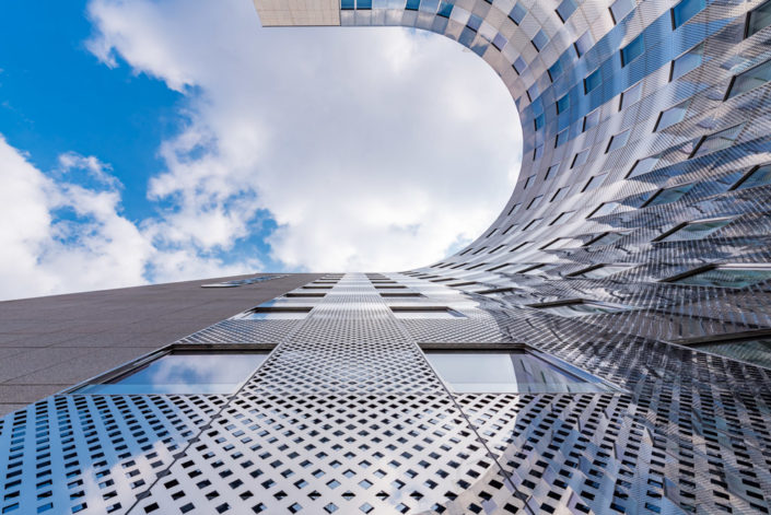 Spaces tower against sky in La Defense business district in Paris, France