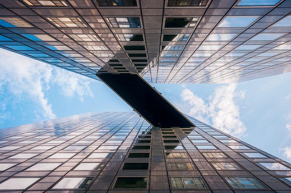 Tour Pascal low angle view in La Defense business district, Paris, France