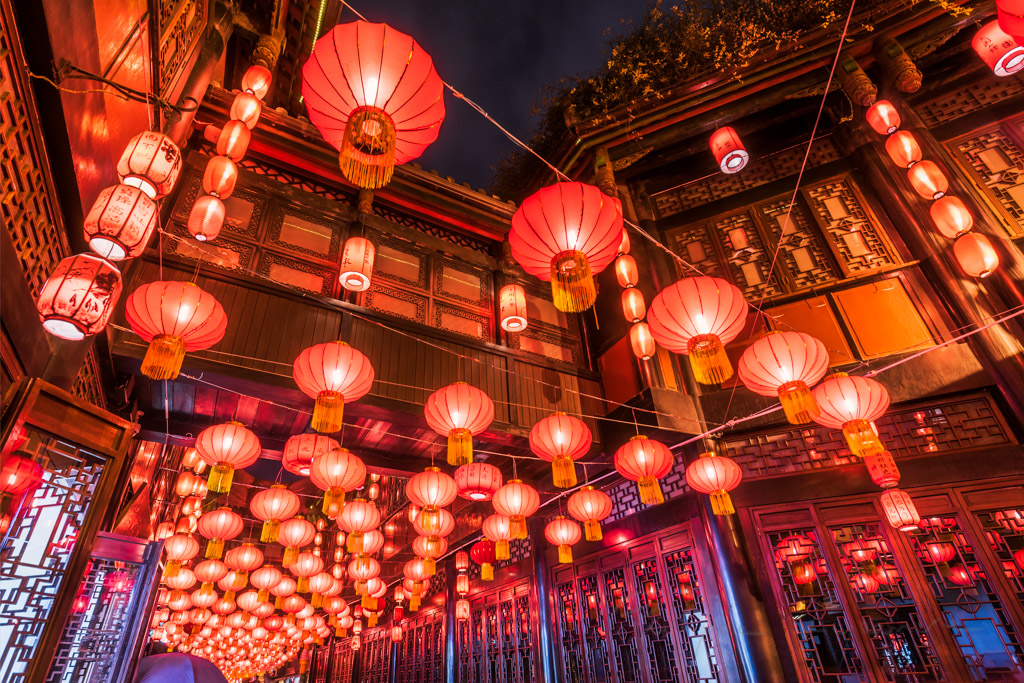 Red chinese lanterns hanging in Jinli street, Chengdu for the chinese new year lantern festival