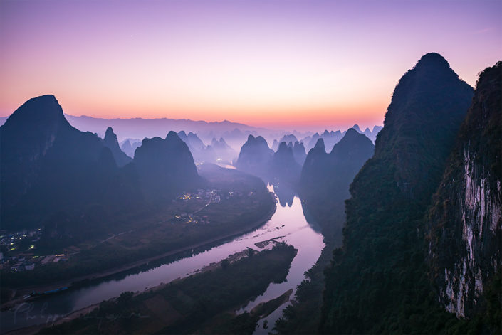 Xinping landscape at dawn aerial view before sunrise, Yangshuo, Guilin, Gungxi province, China