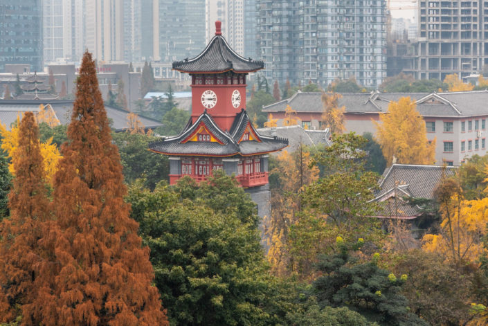 Chengdu, Sichuan province, China - Dec 7, 2019 : Sichuan Huaxi university campus clock tower in autumn with gingko yellow leaves in the trees