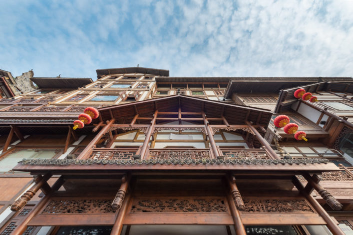 Hongya cave ancient building against blue sky in Chongqing, China