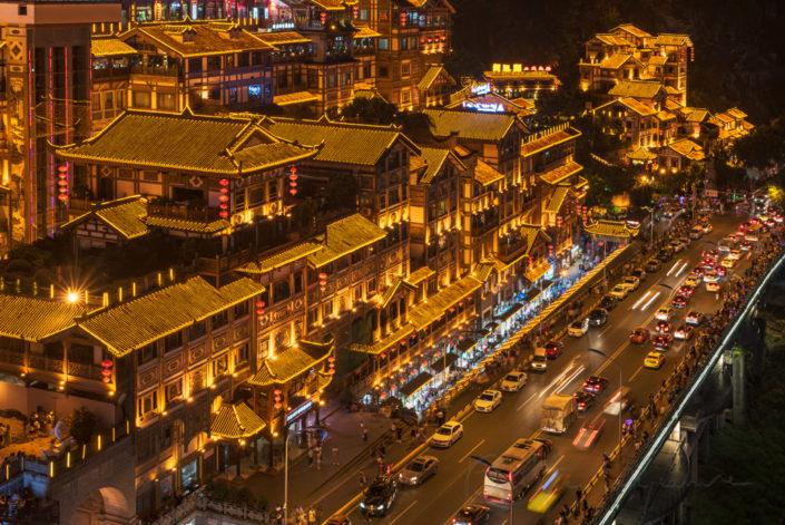 Hongya cave high angle view at night in Chongqing, China