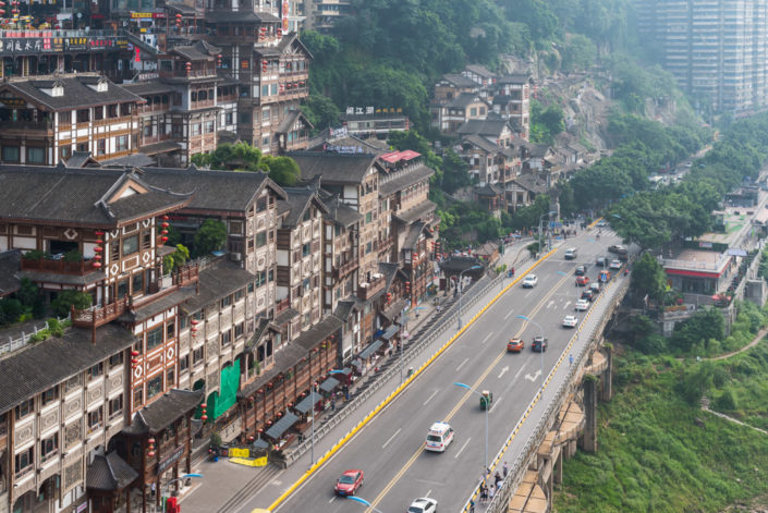 Hongya cave high angle view in daylight in Chongqing, China