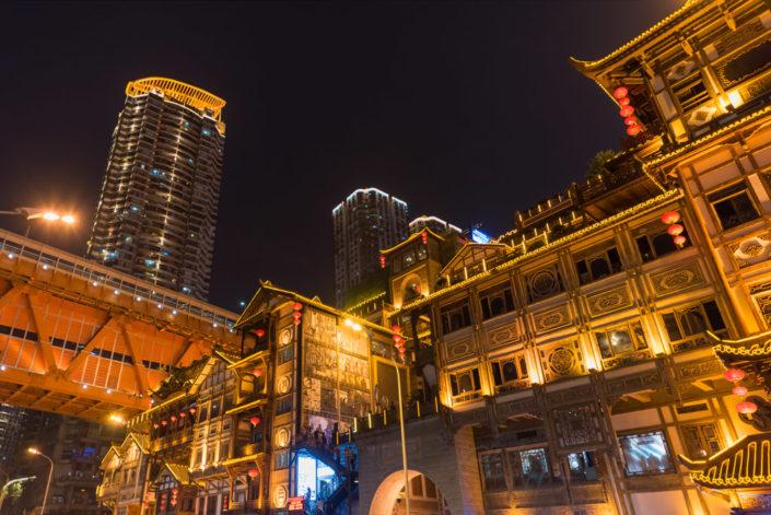 Hongya cave low angle view at night in Chongqing, China